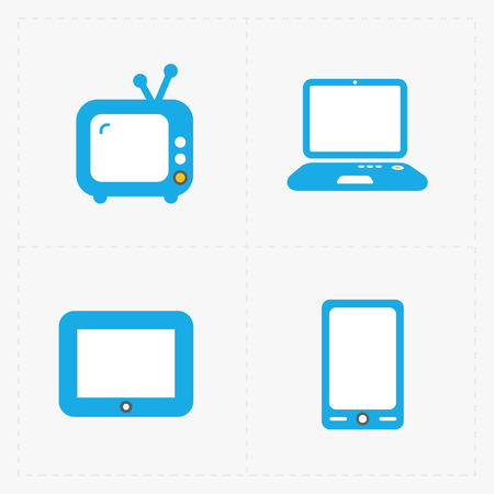 mouse pad: Vector Media Icons set on white background