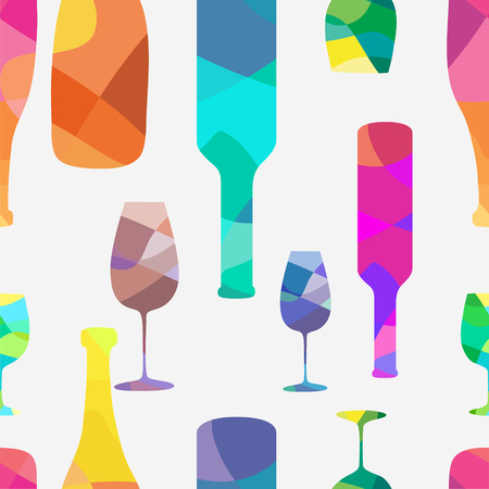 wineglasses: Wine bottle and a wineglasses pattern