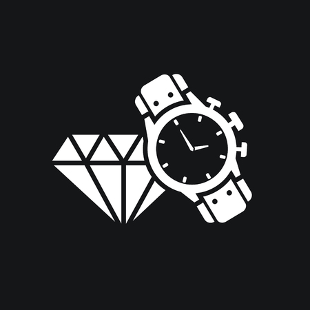 is expensive: male watch and diamond icon. Expensive gifts. Illustration