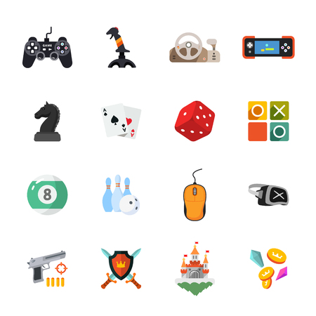 pool player: sixteen flat game icons