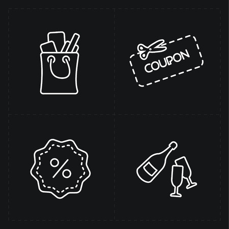 shopping champagne: Gift flat contour shop icon set on black Illustration