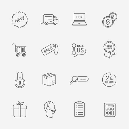 us coin: Flat contour shop icon set Illustration