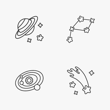 planetarium: four stylish space icons