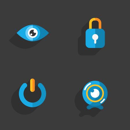 shutdown: Modern colorful flat social icons set on Dark Background