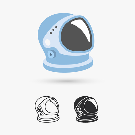 outer clothing: Astronaut helmet with big glass and reflection