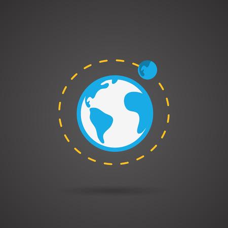 Earth orbit. Earth vector icon on black background.