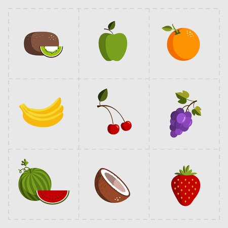 Colorful Fruit Icon Set on White Background  イラスト・ベクター素材