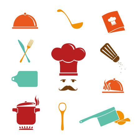 vapore acqueo: Kitchen Icons Set Vettoriali