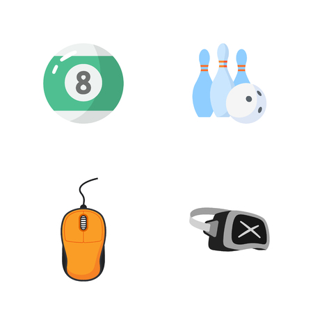 cue ball: four flat game icons Illustration