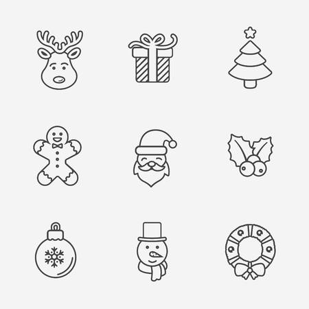 gingerbread man: Christmas icons, thin line style, on white.