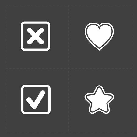 star award: Modern flat social icons set on dark background Illustration
