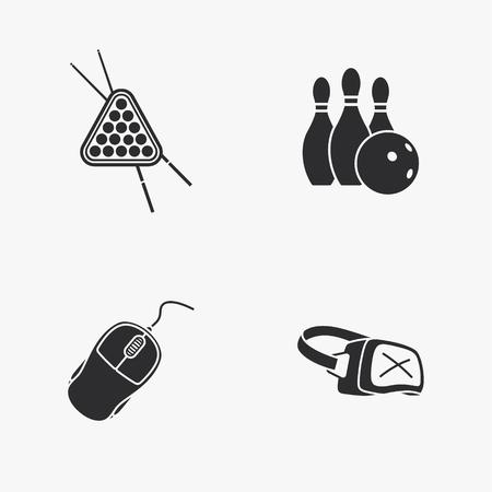 four flat game icons Illustration