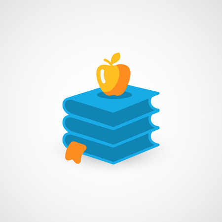Books and Apple. Vector icon.