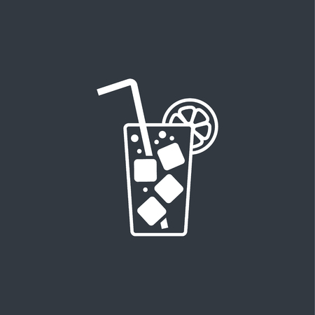 ice tea: cocktail flat icon with long straw Illustration