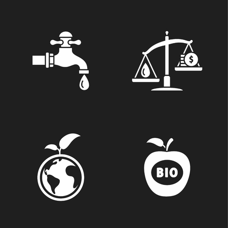 libra: four flat eco icons