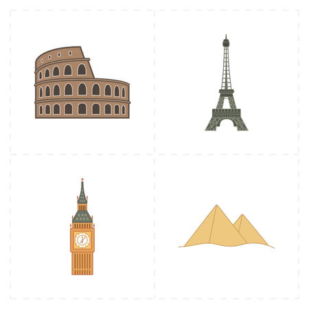 4 flat landmark icons Illustration