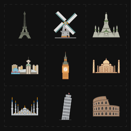 agra: 9 flat landmark icons