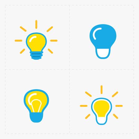 Colorful Light bulbs. Bulb icon set. Illustration