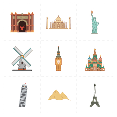 sights of moscow: flat landmark icons