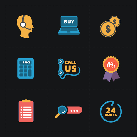 finding: Flat colorful shop icons on black Illustration