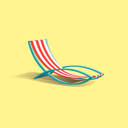 Beach vector deck chair, vector illustration. Illustration
