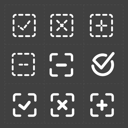 confirm: Vector white confirm icons set, vector illustration.