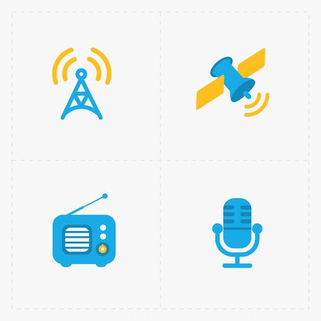 fm: Modern colorful flat social icons set on White, vector illustration. Illustration
