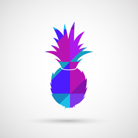 juicy fresh vector pineapple with white background