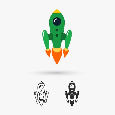 rivets: Space rocket flying Illustration