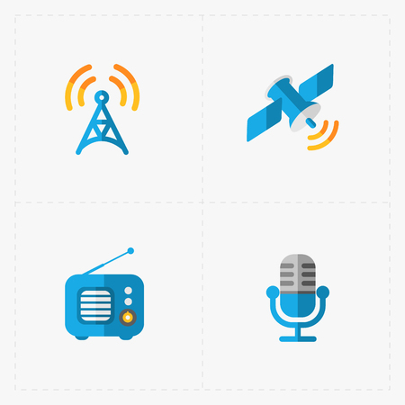 fm radio: Modern colorful flat social icons set on White