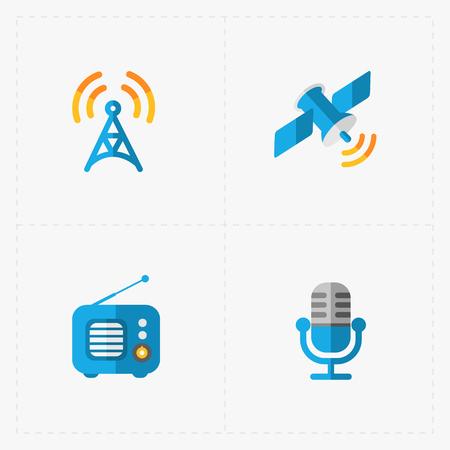 fm: Modern colorful flat social icons set on White