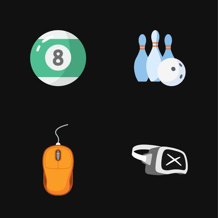 quatre icônes de jeux plats Illustration
