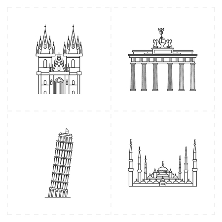 Platte oriëntatiepictogrammen Stock Illustratie