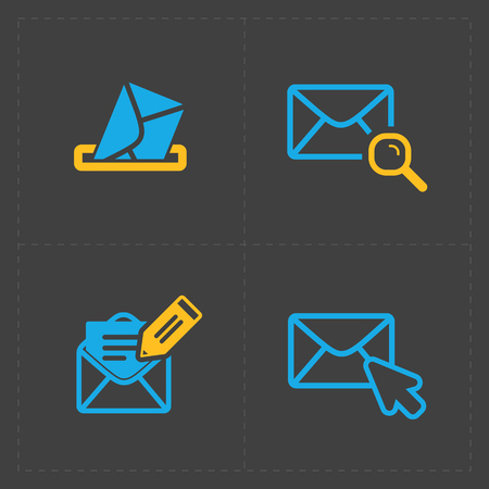 Email and envelope icons on Dark Illustration