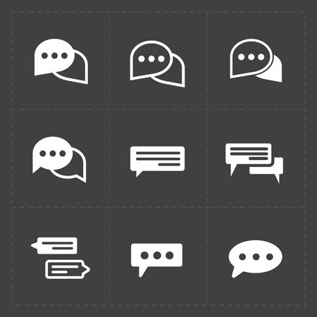 New Modern Speech bubble icons on black background. Vector illus Illustration
