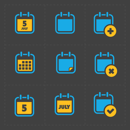 event planning: Vector Colorful Calendar Icons on dark