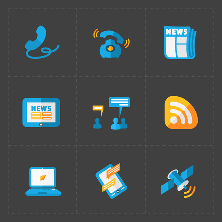 old notebook: Modern colorful flat social icons set on Dark Background