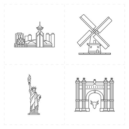 vancouver city: flat landmark icons