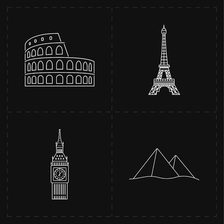 sights: flat landmark icons