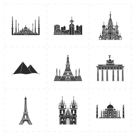 flat landmark icons