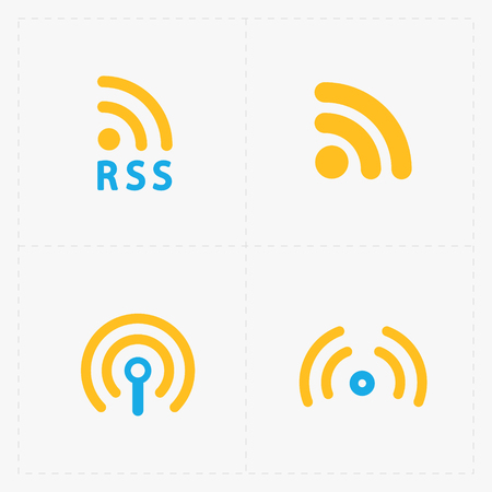 RSS sign icons. RSS feed symbols on White Background. Illustration