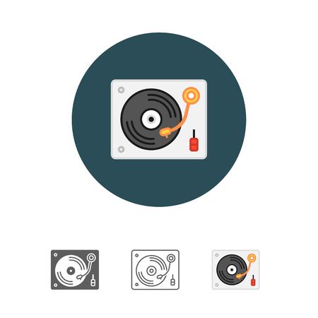 Disk Jockey turntable icon Illustration