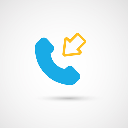 hang up: Phone colorful icon - incoming, vector illustration.