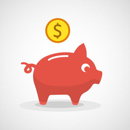 dime: Vector piggy bank icon vector illustration.