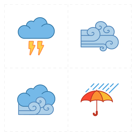 overcast: 4 flat modern weather icons