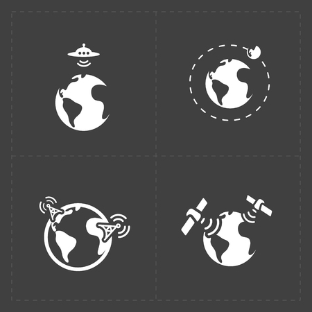 corporation: Earth vector icons set on dark background.
