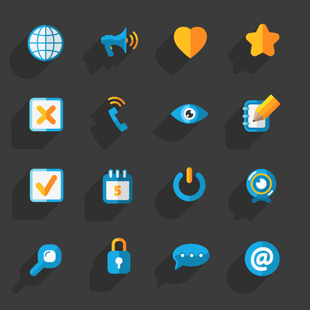 yellow notepad: Modern colorful flat social icons set on Dark Background