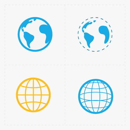 Earth vector icons set on white background.