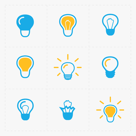 Colorful Light bulbs. Bulb icon set. Illustration