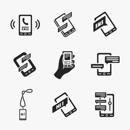 smartphone business: Vector smart phone icons on White Illustration